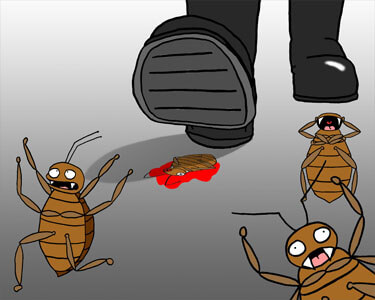 illustration showing man stepping on bed bugs