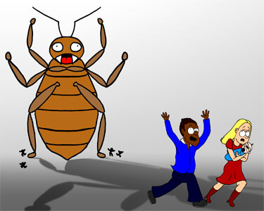 illustration showing giant bed bug chasing people